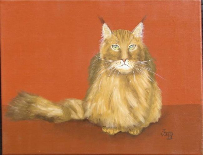 Chat norvégien - Painting,  11.8x15.8 in, ©2009 by Jacques Copp -                                                                                                                                                                          Classicism, classicism-933, Chat norvégien
