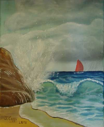 Plage et voilier - Painting,  15.8x11.8 in, ©2009 by Jacques Copp -