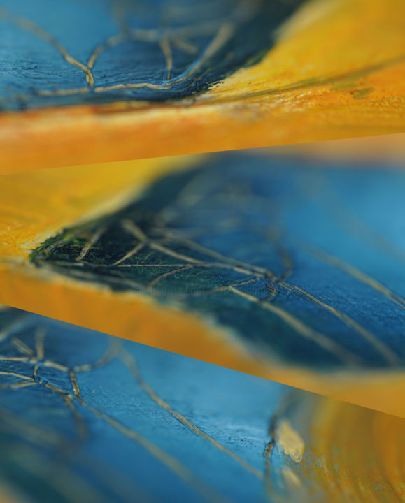 proximité #7286-7-8 - Photography,  19.7x15.8x0.8 in, ©2019 by Jean Belhomme -                                                                                                                                                                                                                                                                      Abstract, abstract-570, Abstract Art, orange, bleu