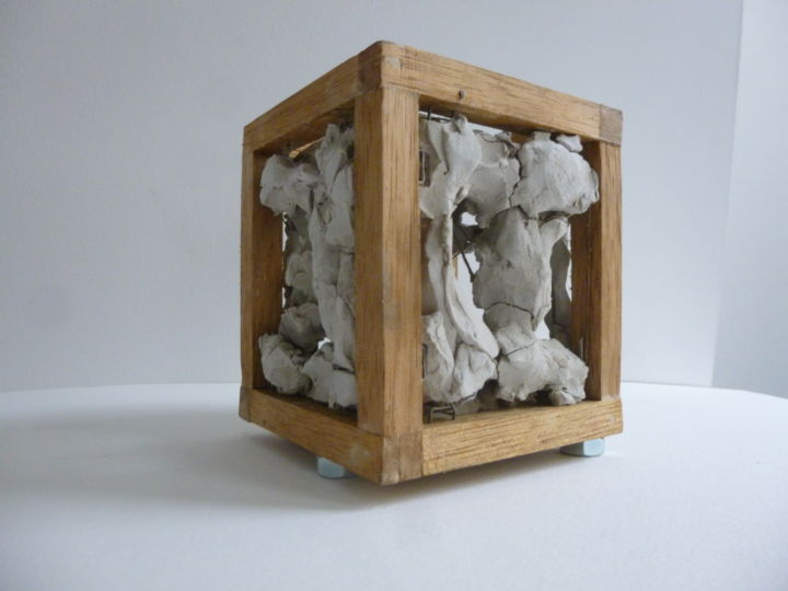 """Cube terre grise bois fil de fer"" Chazy.jpg - Sculpture,  12x12x12 cm ©1987 by jean-chazy -                                                        Abstract Expressionism, Other, Abstract Art"