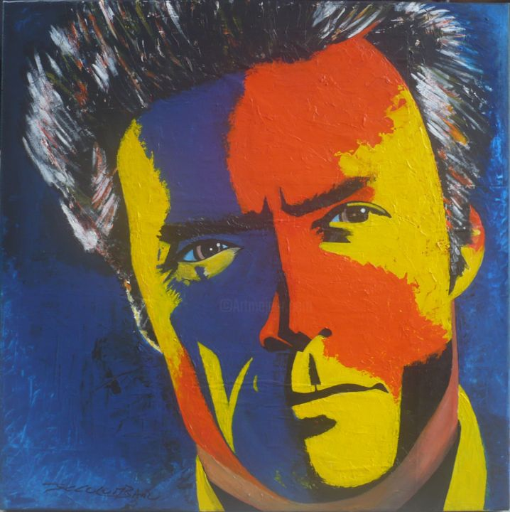 Clint Eastwood - Painting,  60x60 cm ©2015 by jean claude colombano -                                                        Pop Art, Celebrity, Portraits, Pop Art, Clint Eastwood, acteurs américains, cinéma