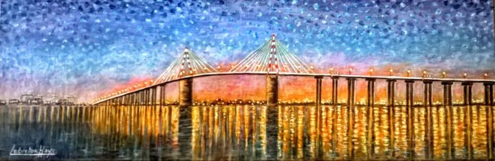 le  Pont  de  saint-Nazaire  de  nuit - Painting,  30x90x1.5 cm ©2018 by lebreton-hays -                                                        Environmental Art, Canvas, Seascape
