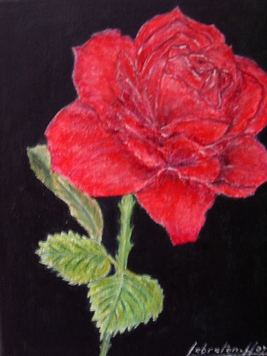 Rose rouge - Painting,  9.8x7.1 in, ©2013 by Lebreton-Hays -                                                                                                                                                                                                                                              tableau, acrylique, fleur, rouge, rouge