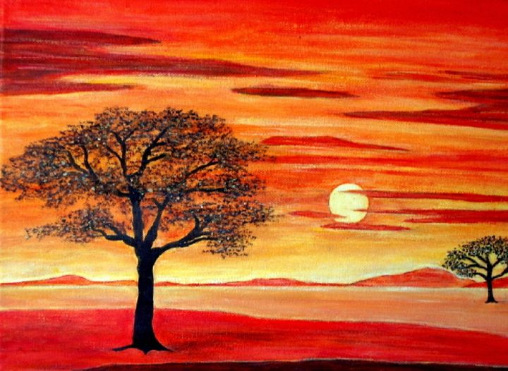Coucher de soleil orange tableaux contemporains - Tableaux tryptiques contemporains ...