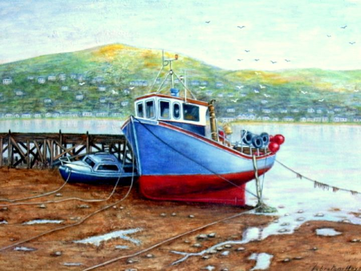 Port d' Ecosse - Painting,  1.5x50x70 cm ©2014 by lebreton-hays -                            Contemporary painting, Tableau, acrylique, Marine, port, Ecosse, certificat d'authenticité