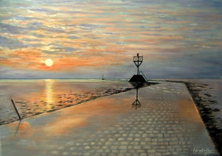 Le  passage du Gois Noirmoutier , 85 , France - Painting,  2.5x50x70 cm ©2014 by lebreton-hays -                                                            Figurative Art, Canvas, Seascape, Tableau, le Gois, Noirmoutier, France, acrylique, certificat d'authenticité, coucher de soleil