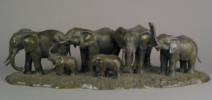 harde-d-elephants.jpg - Sculpture, ©2016 by Jean-François LEROY -                                                                                                                                                                                                                          Figurative, figurative-594, Bronze, Animals