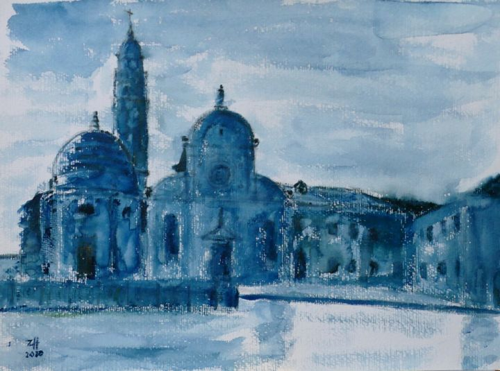 Venezia 01 (aquarelle, watercolour, acquerello) - Painting,  11.8x15.8 in, ©2020 by Jean-François ZANETTE -                                                                                                                                                                                                                                                                                              Water, Light, Seascape, Venise, Venice, Venezia