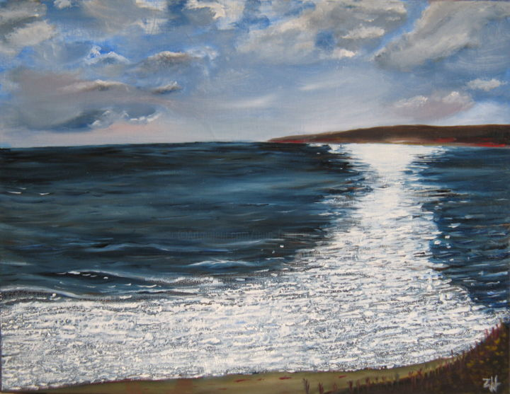 Eclaircie sur mer / Bright interval on the sea / Schiarita sul mare - Painting,  19.7x25.6 in, ©2006 by Jean-François ZANETTE -                                                                                                                                                                                                                                                                                                                                                                                                                                                                                                  Figurative, figurative-594, Seascape, Beach, Water, Mer, Ocean, Océan, Sea, Mare