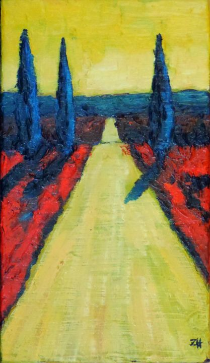 Toscane / Tuscany / Toscana S1-07 - Painting,  13x7.5 in, ©2013 by Jean-François ZANETTE -                                                                                                                                                                                                                                                                                                                                                                                                                                                      Figurative, figurative-594, Colors, Light, Landscape, Toscane, Tuscany, Italie, Italy