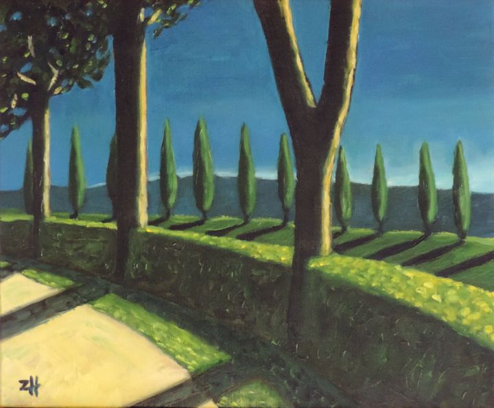 Toscane / Tuscany / Toscana S2-01 - Painting,  15x18.1x0.8 in, ©2015 by Jean-François ZANETTE -                                                                                                                                                                                                                                                                                                                                                                                                                                                                                                  Figurative, figurative-594, Nature, Landscape, Italie, Toscane, Tuscany, Toscana, Italia, Italy