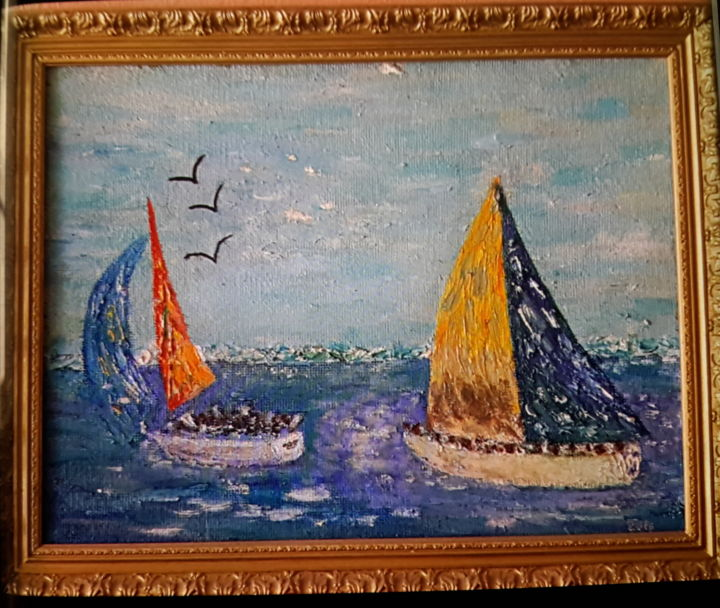 """Painting titled """"Régates"""" by Jean-Jacques Gastaud, Original Art, Oil Mounted on Wood Panel"""