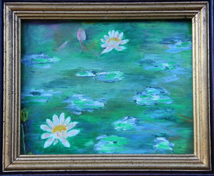 Nenuphars - Painting, ©2015 by Jean-Jacques GASTAUD -                                                                                                                                                                          Impressionism, impressionism-603, Flower