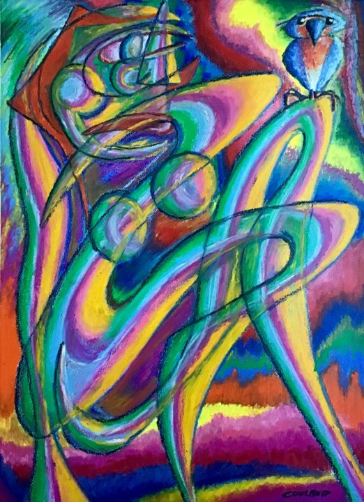 Femme et oiseau - Drawing,  72.5x52 cm ©2015 by Jean-Luc Coulaud -                                                        Figurative Art, Paper, Women