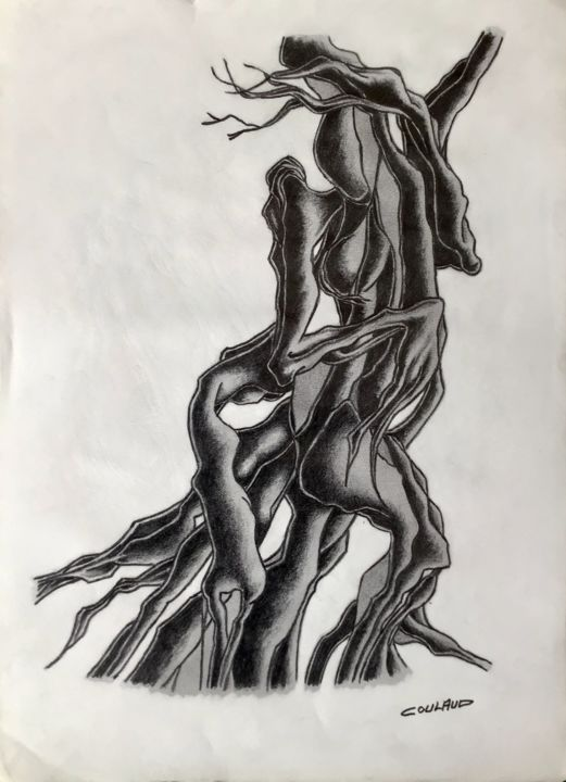 Étude arbrologique 7 - Drawing,  40.5x29.5 cm ©2000 by Jean-Luc Coulaud -                                                        Surrealism, Paper, Tree