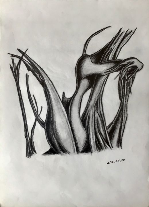 Étude arbrologique 9 - Drawing,  40.5x29.5 cm ©2000 by Jean-Luc Coulaud -                                                        Surrealism, Paper, Tree