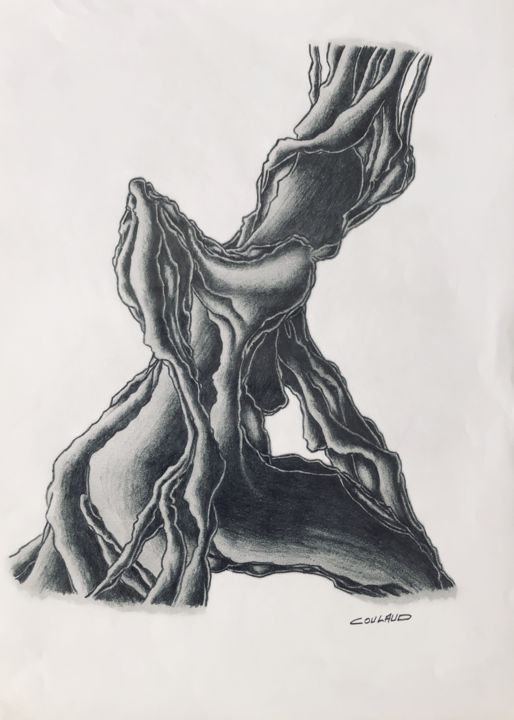 Étude arbrologique 10 - Drawing,  40.5x29.5 cm ©2000 by Jean-Luc Coulaud -                                                        Surrealism, Paper, Tree
