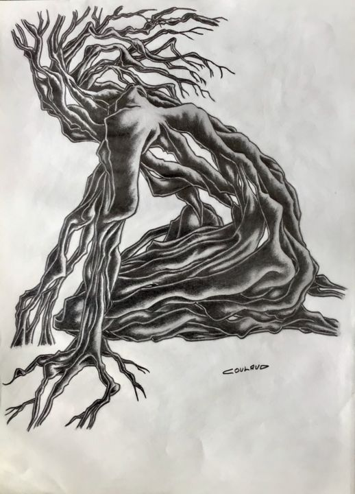 Étude arbrologique 17 - Drawing,  40.5x29.5 cm ©2000 by Jean-Luc Coulaud -                                                        Surrealism, Paper, Tree