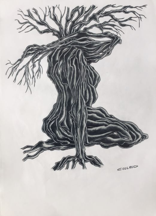Étude arbrologique 25 - Drawing,  40.5x29.5 cm ©2000 by Jean-Luc Coulaud -                                                        Surrealism, Paper, Tree