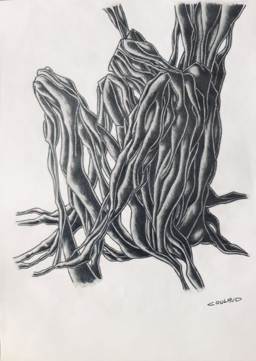 Étude arbrologique 27 - Drawing,  40.5x29.5 cm ©2000 by Jean-Luc Coulaud -                                                        Surrealism, Paper, Tree