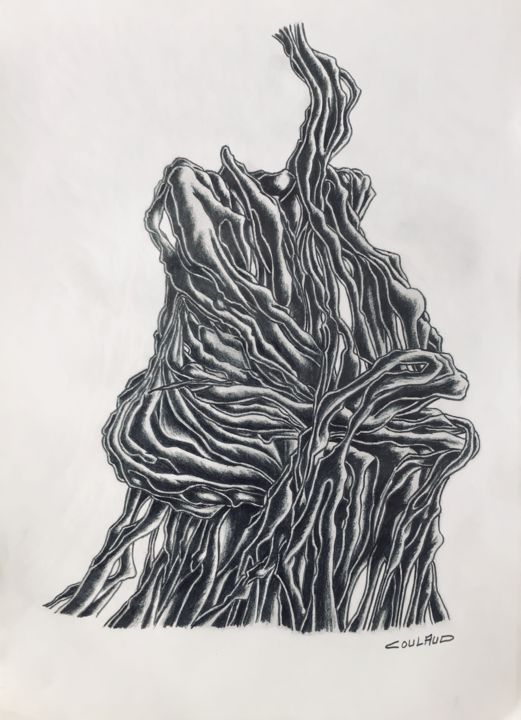 Étude arbrologique 28 - Drawing,  40.5x29.5 cm ©2000 by Jean-Luc Coulaud -                                                        Surrealism, Paper, Tree