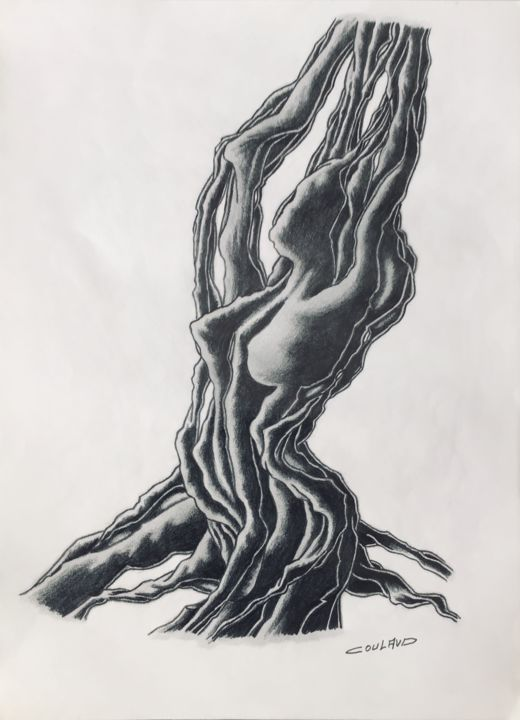 Étude arbrologique 29 - Drawing,  40.5x29.5 cm ©2000 by Jean-Luc Coulaud -                                                        Surrealism, Paper, Tree