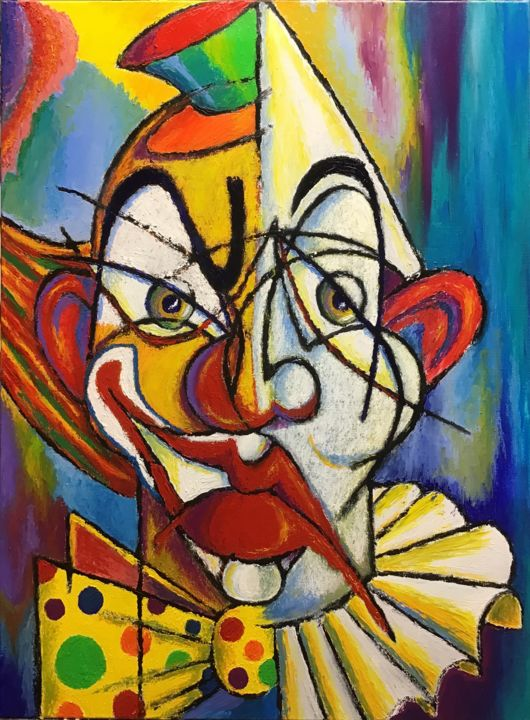 Le Clown BIPO - Painting,  73x54x2 cm ©2019 by Jean-Luc Coulaud -                                                        Expressionism, Canvas, Portraits