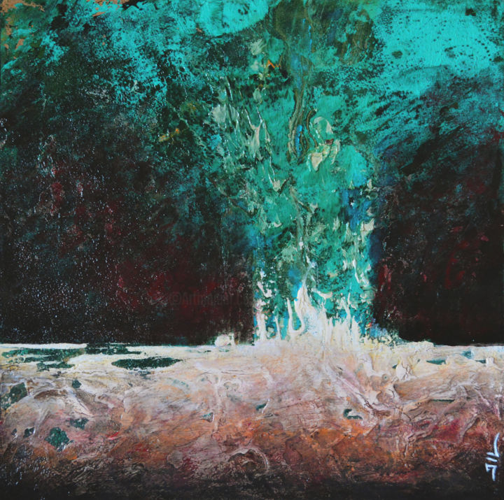 Eruption - Painting,  11.8x11.8x0.4 in, ©2018 by JL LACROIX -                                                                                                                                                                                                                                                                                                                                                                                                          Abstract, abstract-570, Nature, Peinture, acrylique, bois, abstrait, nature