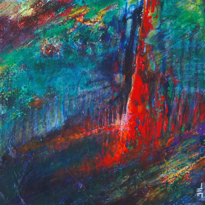 L'Arbre de Vie - Painting,  11x11x1.2 in, ©2018 by JL LACROIX -                                                                                                                                                                                                                                                                                                                                                                                                                                                                                                  Abstract, abstract-570, Tree, Abstract Art, Landscape, nature, environnement, art abstrait, abstraction non figurative, rouge