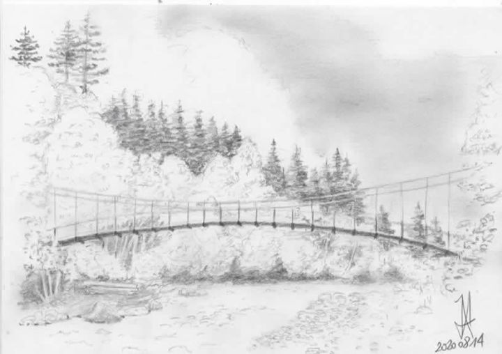 """Painting titled """"Pont Turrian"""" by Jean-Marc Allenbach, Original Art, Pencil"""