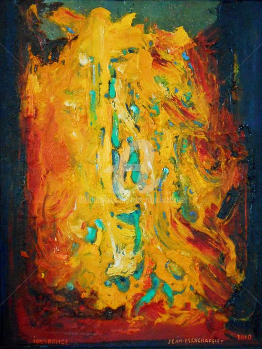 Ignorance - Painting,  27.6x21.7 in, ©2010 by jeanmarchapelet -                                                                                                                                                                          Abstract, abstract-570, Abstract Art