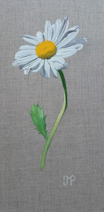 marguerite - Painting,  15.8x7.9x0.8 in, ©2019 by J-M PEN -                                                                                                                                                                                                                                                                      Figurative, figurative-594, Flower, Marguerite, Fleur