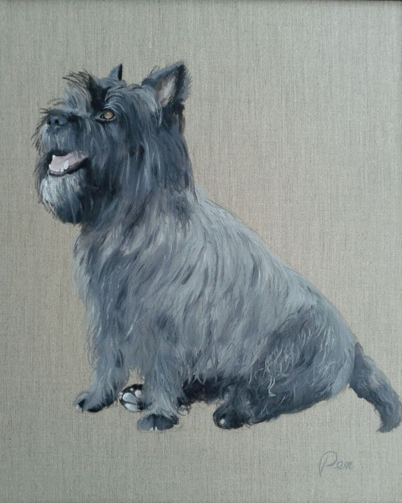 cairn terrier - Painting,  24x19.7x0.8 in, ©2016 by J-M PEN -                                                                                                              Dogs, Cairn