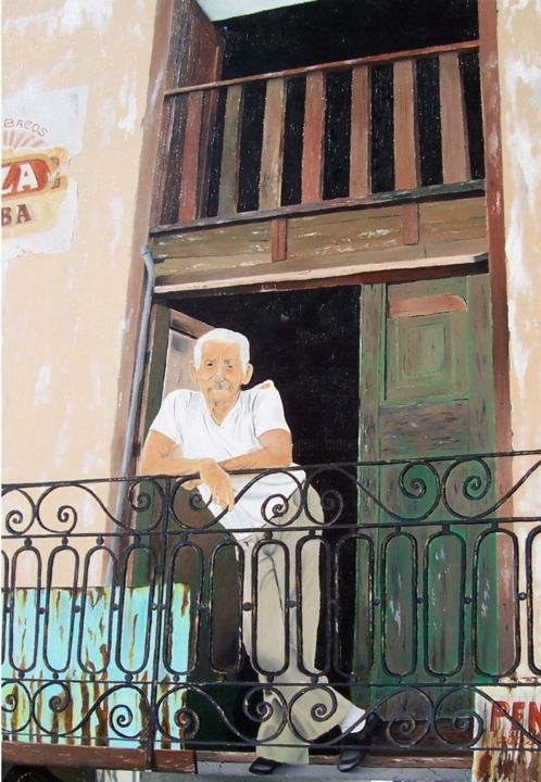 cubain au balcon - Painting,  28.7x21.3x0.8 in, ©1999 by J-M PEN -                                                                                                                                                          People, cuba, balcon