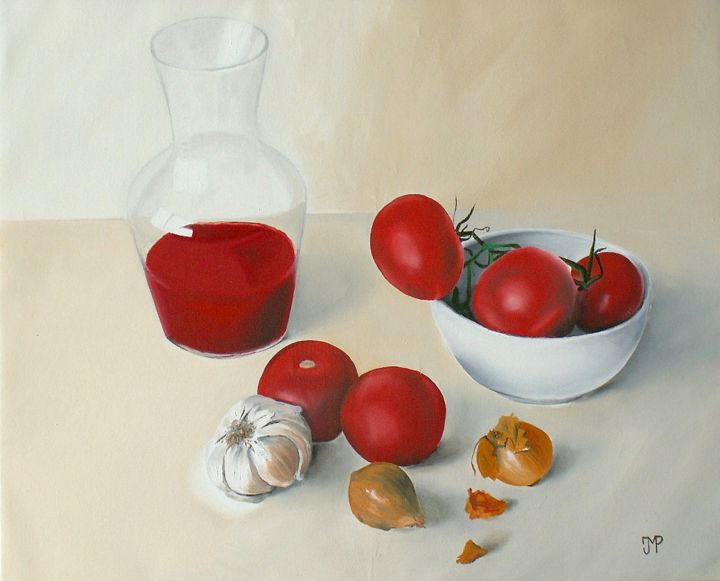 Tomates, flacon, ail et oignons - Painting,  15x18.1 in, ©2013 by J-M PEN -                                                                                                                                                                                                                                                                                                                                                              Figurative, figurative-594, Still life, Food & Drink, Flacon, tomates, nature morte