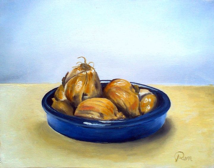 Ramequin et oignons - Painting,  7.5x9.5 in, ©2013 by J-M PEN -                                                                                                                                                                                                                                                                                                                                                              Figurative, figurative-594, Still life, Food & Drink, Nature morte, oignons, ramequin