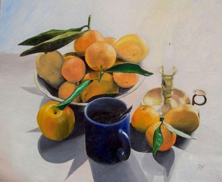 "Nature morte ""orange"" - Painting,  15x18.1 in, ©2013 by J-M PEN -                                                                                                                                                                                                                                                                                              Still life, Nature morte, fruits, oranges, bougeoir, coupe"