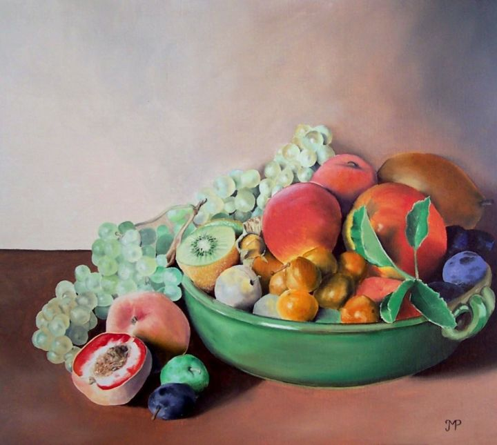 Nature morte au kiwi - Painting,  15.8x18.1 in, ©2013 by J-M PEN -                                                                                                                                                                                                      Still life, Nature morte, fruits, coupe