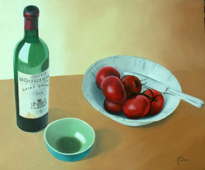 La Gaffelière 1936 - ©  Nature morte, vin, coupe, tomates Online Artworks
