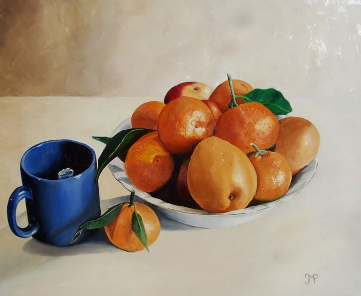 Nature morte - Painting,  15x17.7 in, ©2013 by J-M PEN -                                                                                                                                                                                                                                                                                                                  Figurative, figurative-594, Still life, Nature morte, coupe, fruits