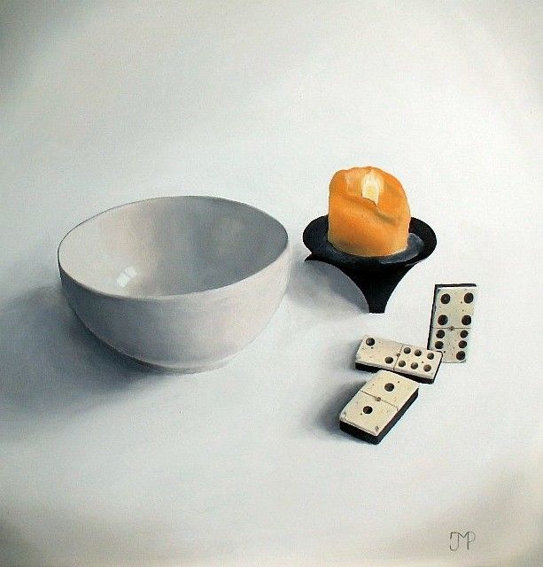 Dominos, bol et bougie - Painting,  16.9x15 in, ©2013 by J-M PEN -                                                                                                                                                                                                                                                                                                                                                                                                          Figurative, figurative-594, Still life, Nature morte, bol, bougie, dominos, bois
