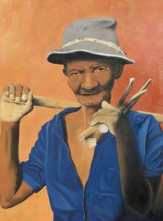 Paysan mahorais - Painting,  28.7x21.3 in, ©2013 by J-M PEN -                                                                                                                                                                                                                                                                                                                  Figurative, figurative-594, Men, Portraits, Paysan, Madagascar