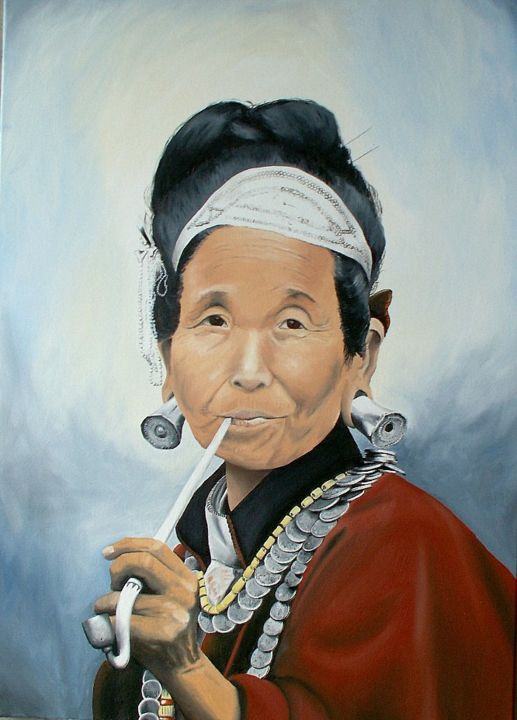 Fumeuse du Ladakh - Painting,  36.2x25.6 in, ©2013 by J-M PEN -                                                                                                                                                          Women, Ladakh, portrait