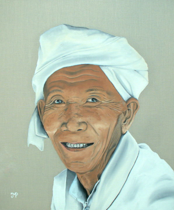 Birman en blanc - Painting,  25.6x21.3 in, ©2013 by J-M PEN -                                                                                                                                                                                                      Men, Portraits, Birmanie, Myanmar