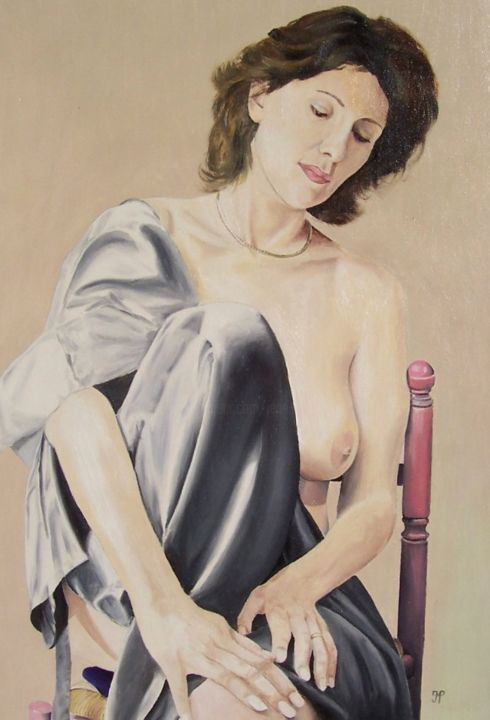 La chaise rose - Painting,  21.7x15 in, ©1998 by J-M PEN -                                                                                                                                                                                                                                                                      Figurative, figurative-594, Nude, Nu, drapé