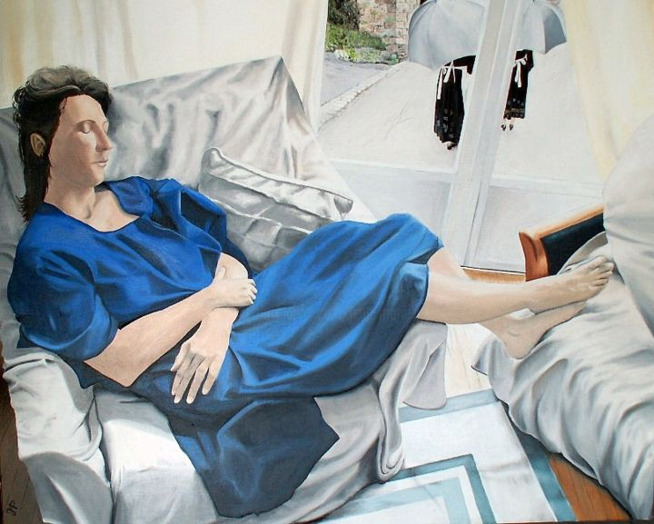 La dormeuse et les bigoudènes - Painting,  28.7x36.2x0.8 in, ©2013 by J-M PEN -                                                                                                                                                                                                                                                                                                                  Figurative, figurative-594, Body, Women, Interiors, Portrait