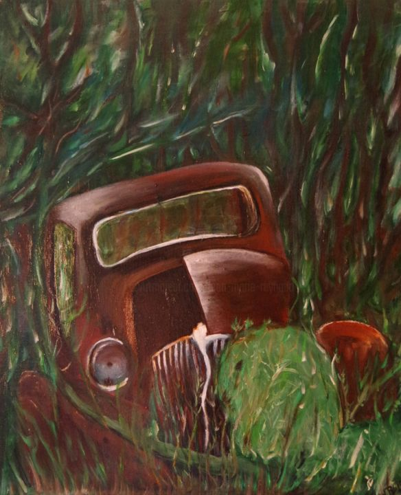 epave d 39 une voiture ancienne painting 2015 par jmry peinture. Black Bedroom Furniture Sets. Home Design Ideas