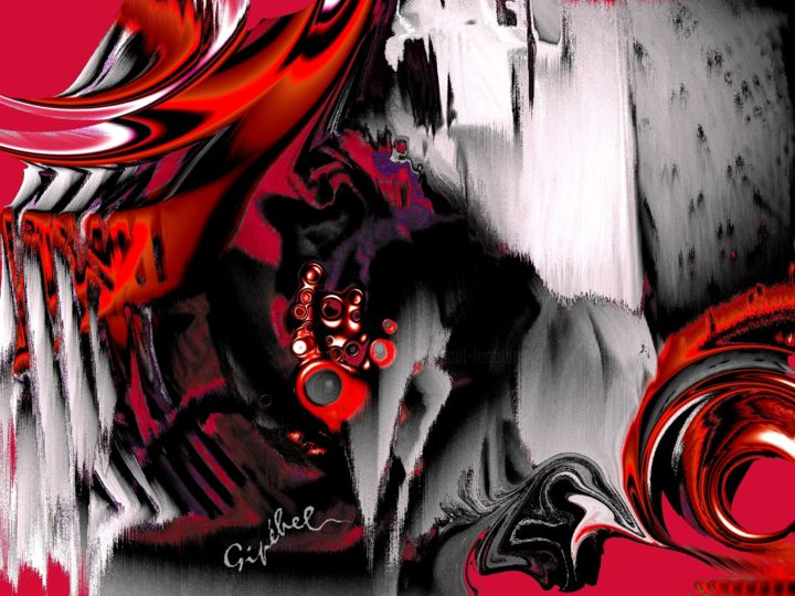 Rouages - Digital Arts, ©2020 by Gipéhel -                                                                                                                                                                                                                                                                                                                  Abstract, abstract-570, Abstract Art, Rouages, Rouge, Noir