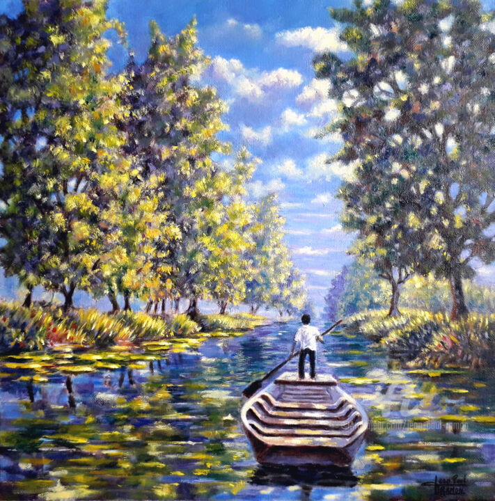 Balade Poitevine - Painting,  40x40x2 cm ©2019 by Jean-Paul RAMON -                                                                                        Figurative Art, Tree, Water, Rural life, Places, Light
