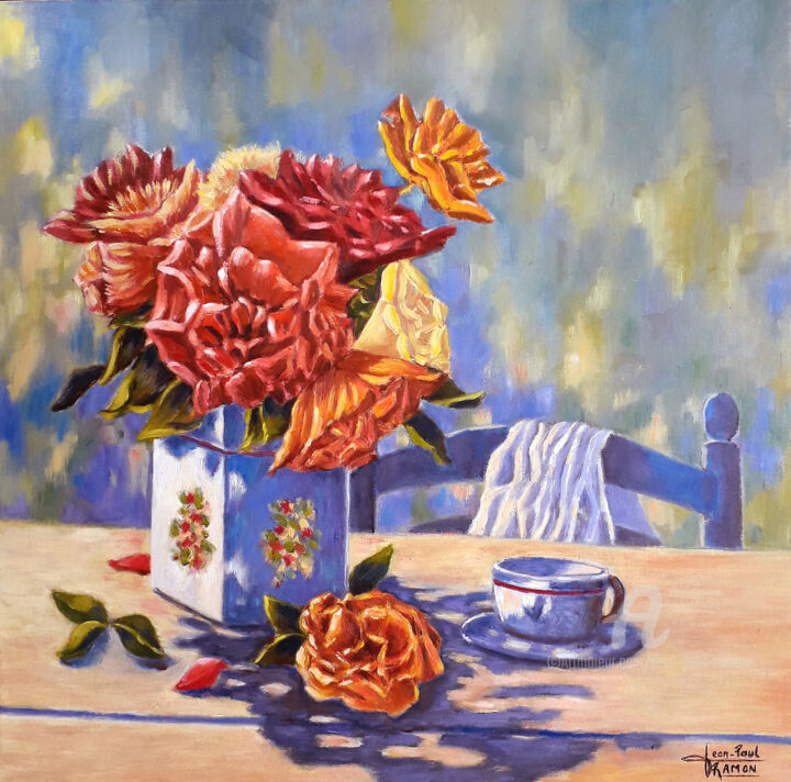 Pour le plaisir - Painting,  40x40x2 cm ©1 by Jean-Paul RAMON -                                                    Figurative Art, Impressionism, Flower